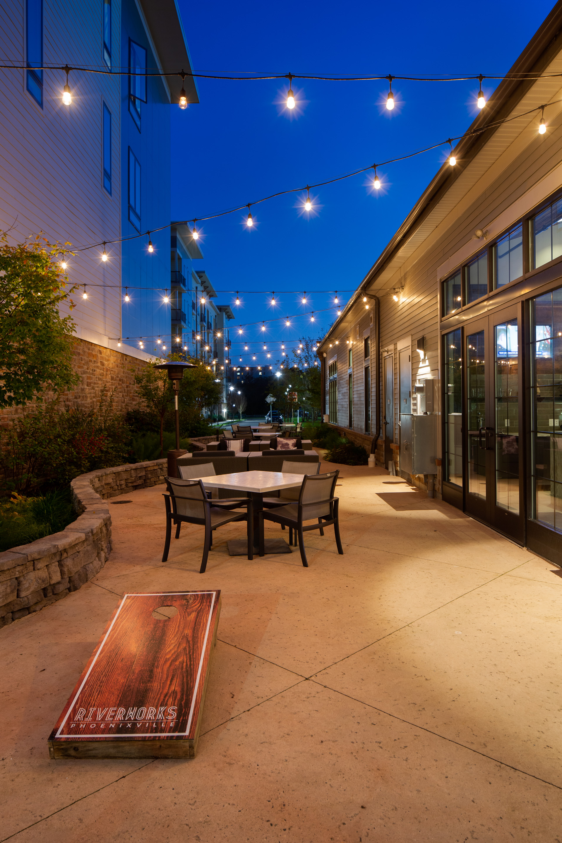 The evening awaits….Riverworks Apartments in Phoenixville.