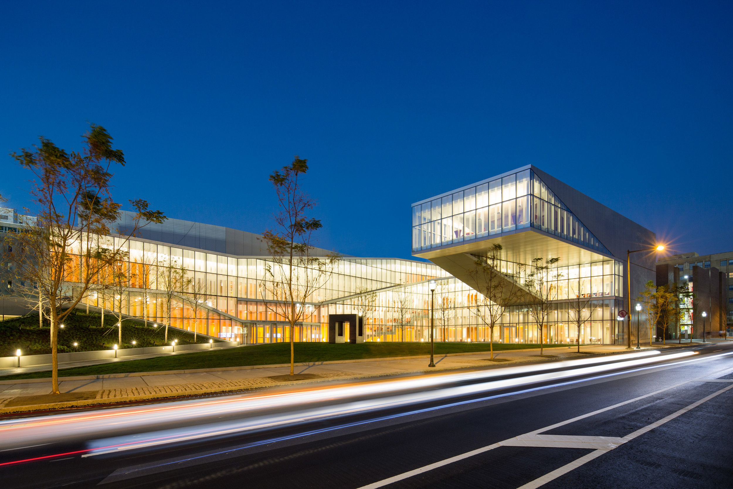 Singh Center for Nanotechnology at Penn lights up with a warm glow in the evening.