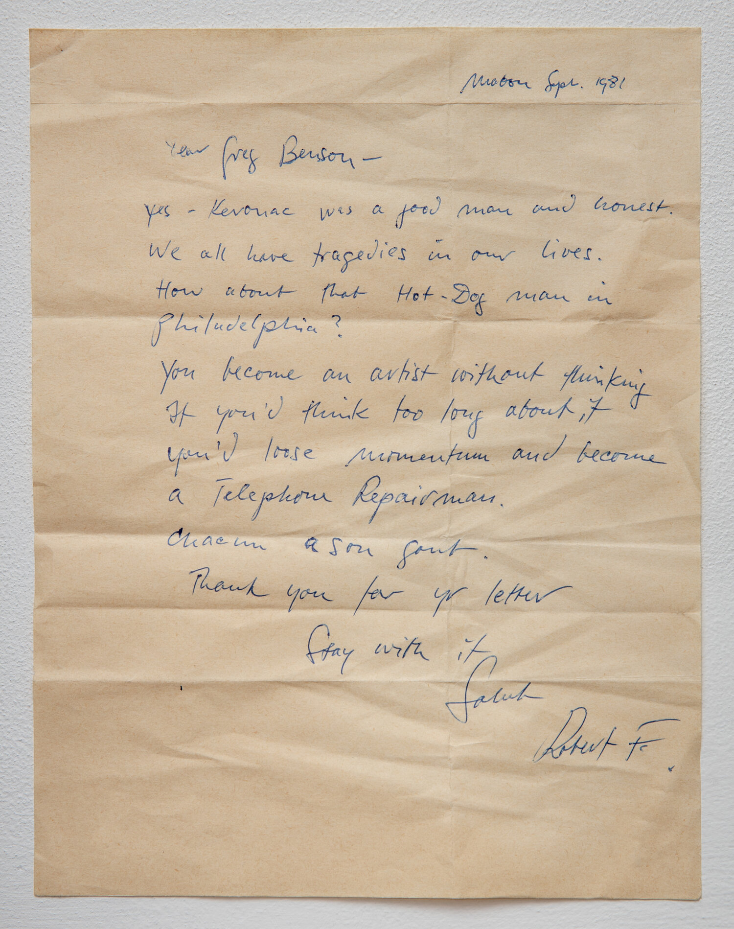 Robert Frank's letter to me.
