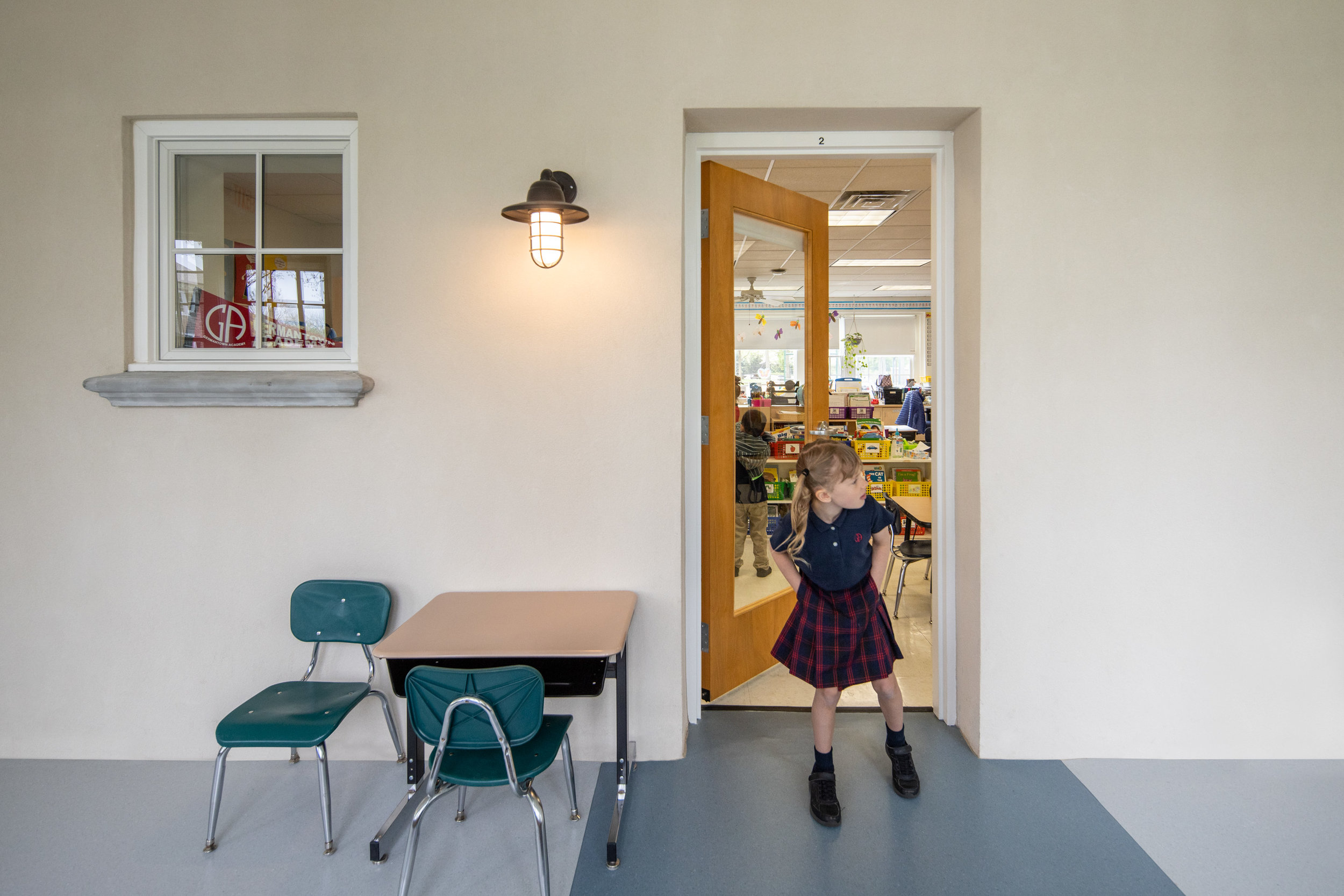 The renovation of Germantown Academy included new interior corridors to connect classrooms.