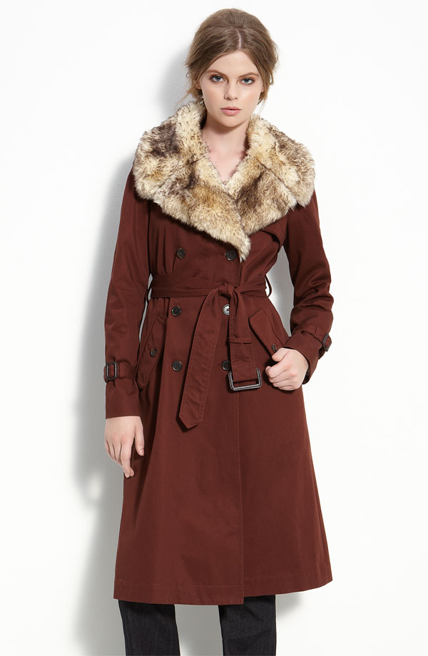Marc by Marc Jacobs 'Penn' Belted Trench Coat with Faux Fur Collar.jpg