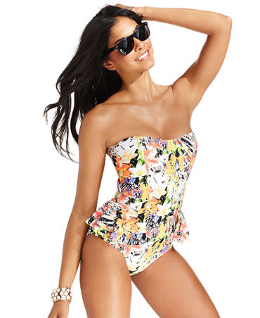 Photo:  www.macys.com    Jessica Simpson Swimsuit, Floral-Print Peplum One-Piece    $92.00