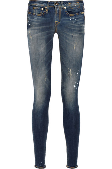 R13 Paint-splatter distressed low-rise skinny jeans      $325   EXCLUSIVE TO NET-A-PORTER.COM