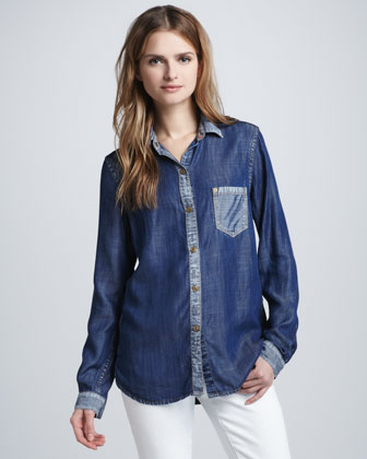7 FOR ALL MANKIND Color-block Denim Shirt      $165