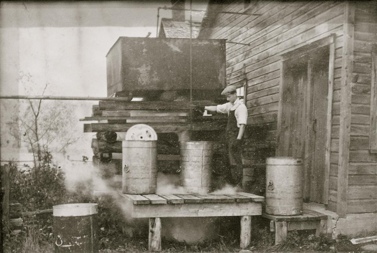 Washing the milk churns