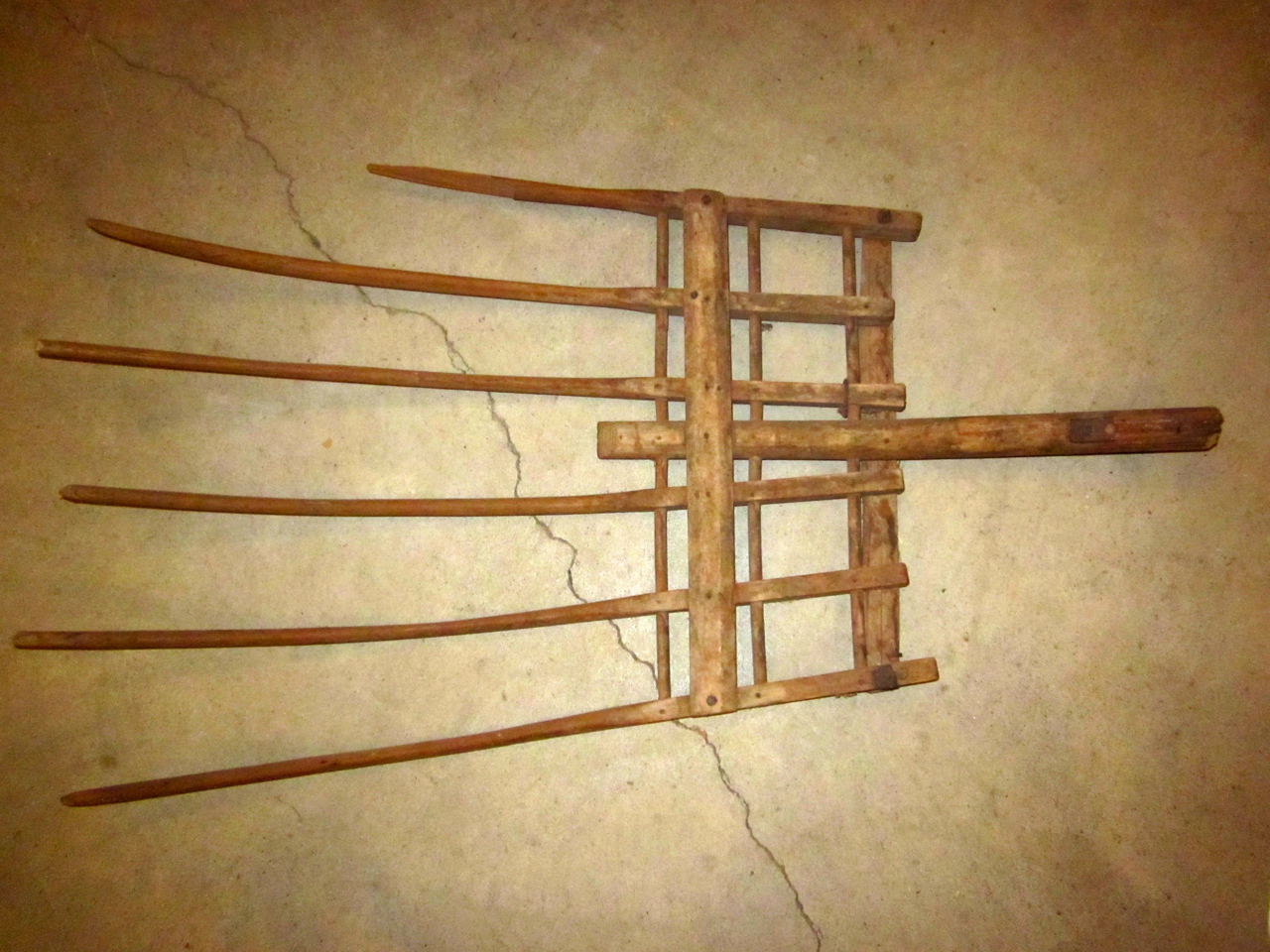 Wooden hay fork