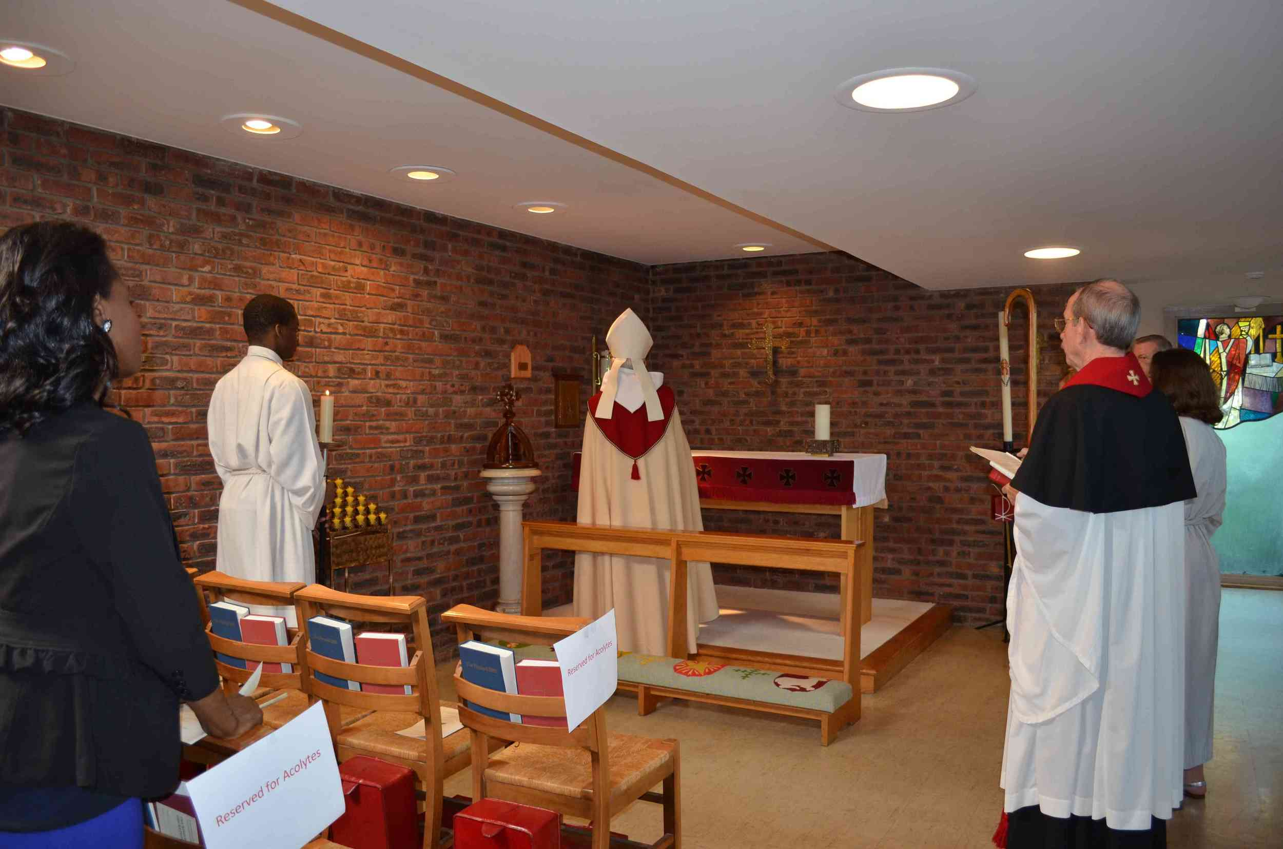 The fair linen for the chapel altar was given in thanksgiving for the Gutterman and Kim children