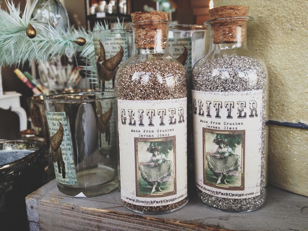 Bottles of glitter for decor or to be used as magical pixie dust.