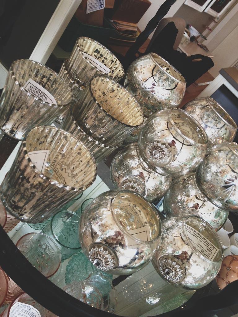Mercury Glass Candle Holders.