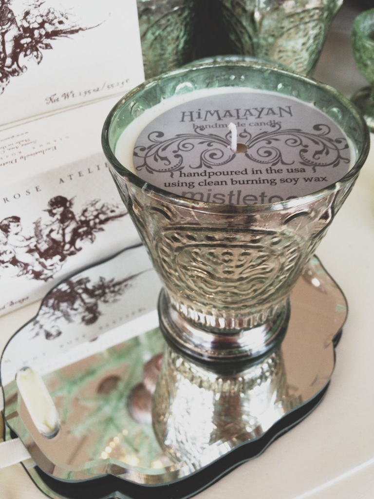 This mistletoe candle smells amazing and comes in this stylish mercury glass candle holder.