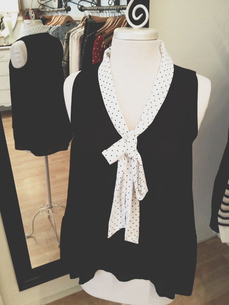 Black Tank Top with adorable Black and White Spotted Collar