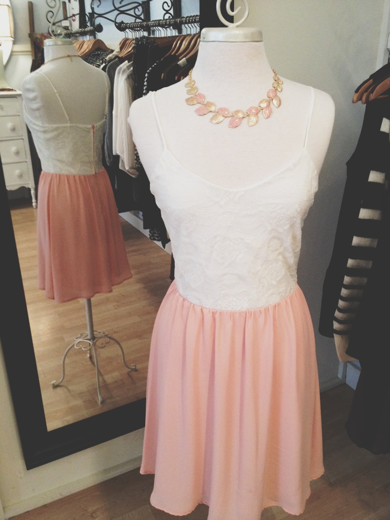 Lacy Peach Dress with Peachy Leaf Necklace.
