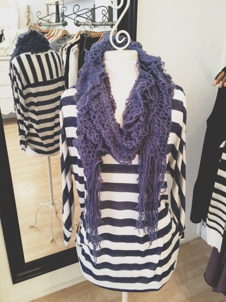 Blue and White Striped Loose Fitting Top with Blue Chunky Scarf.