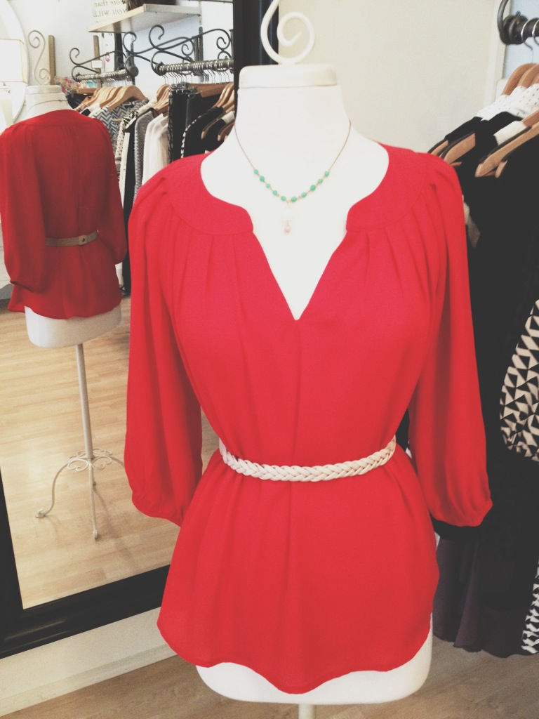 Red V-neck Blouse with Thin Rope Belt.