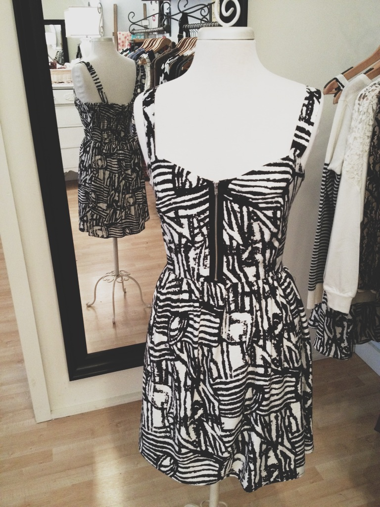 Black and White Front Zip Dress