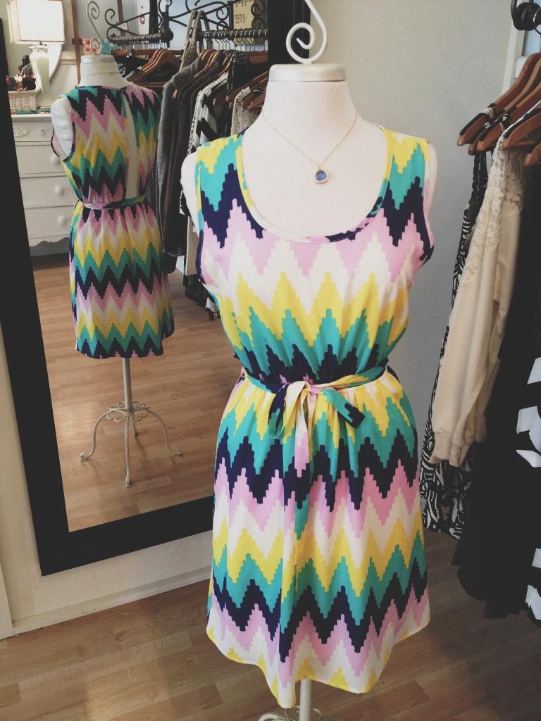 Spring striped chevron dress