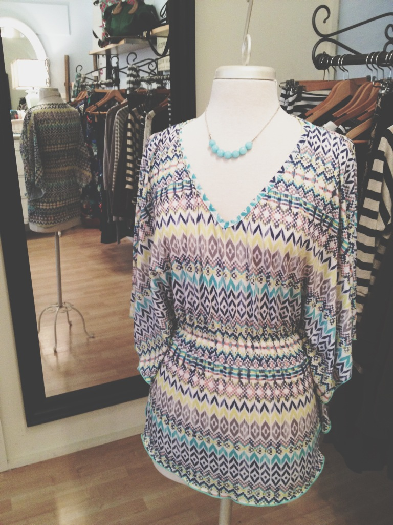 Multi-Colored Cotton Blouse. Very Flattering Fit.