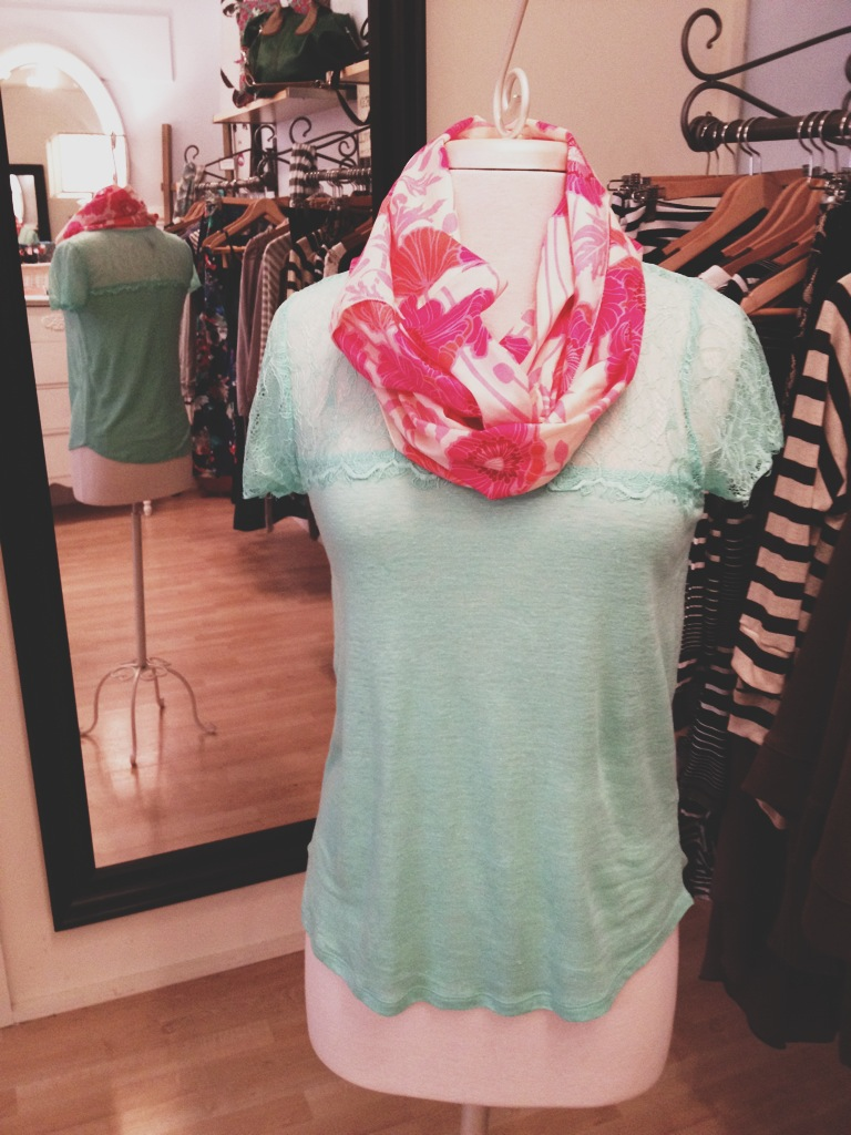 Minty Green Lace T-Shirt Paired with a Floral Infinity Scarf.