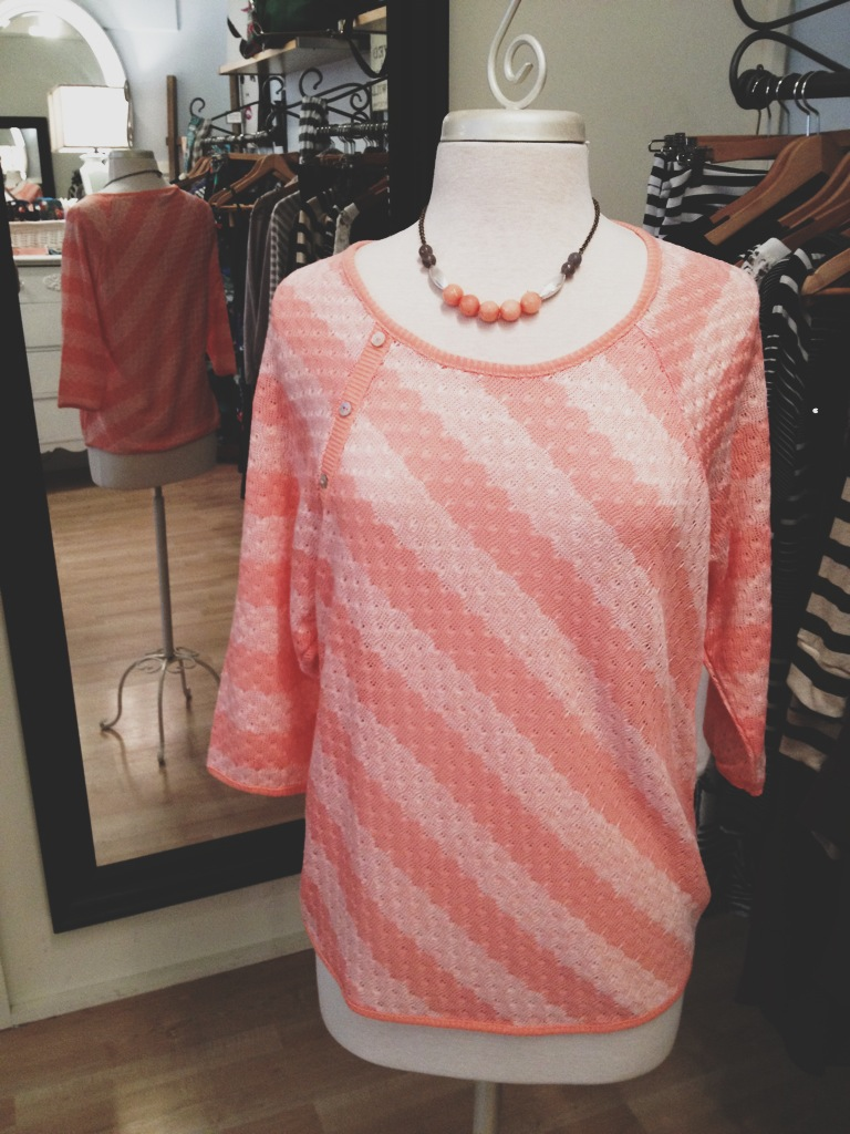 Coral Striped Sweater Paired with a Dana Herbert Necklace (Made in Portland).