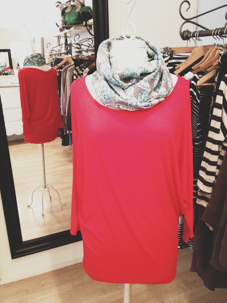 Comfy Red Top with a Patterned Infinity Scarf.