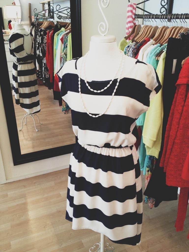 Navy & White Striped Dress