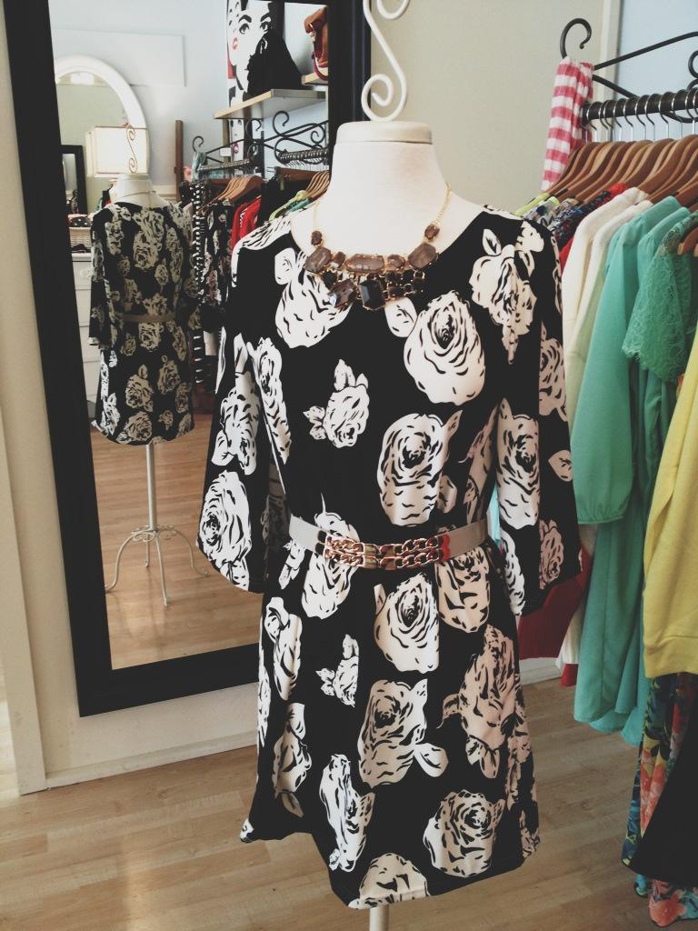 B & W Rose Patterned Dress
