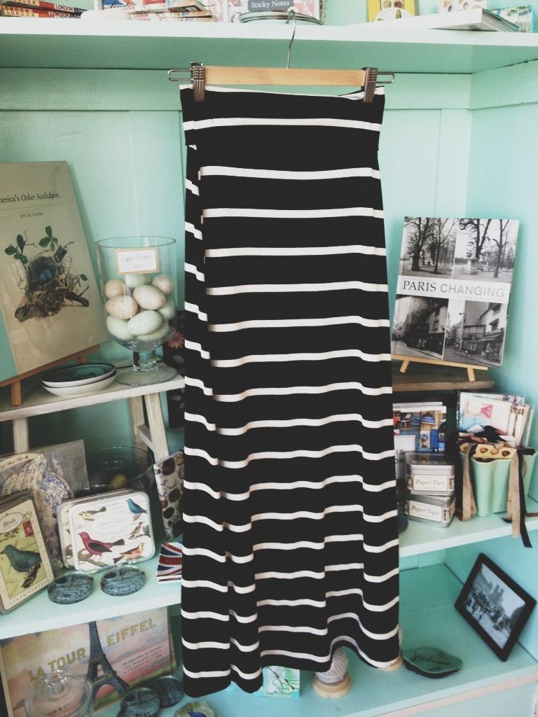 B&W Striped Maxi Skirt