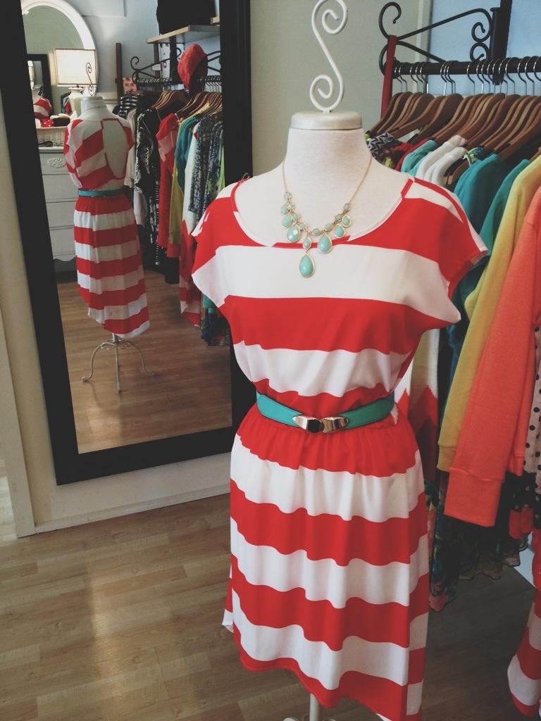 Coral Striped Dress