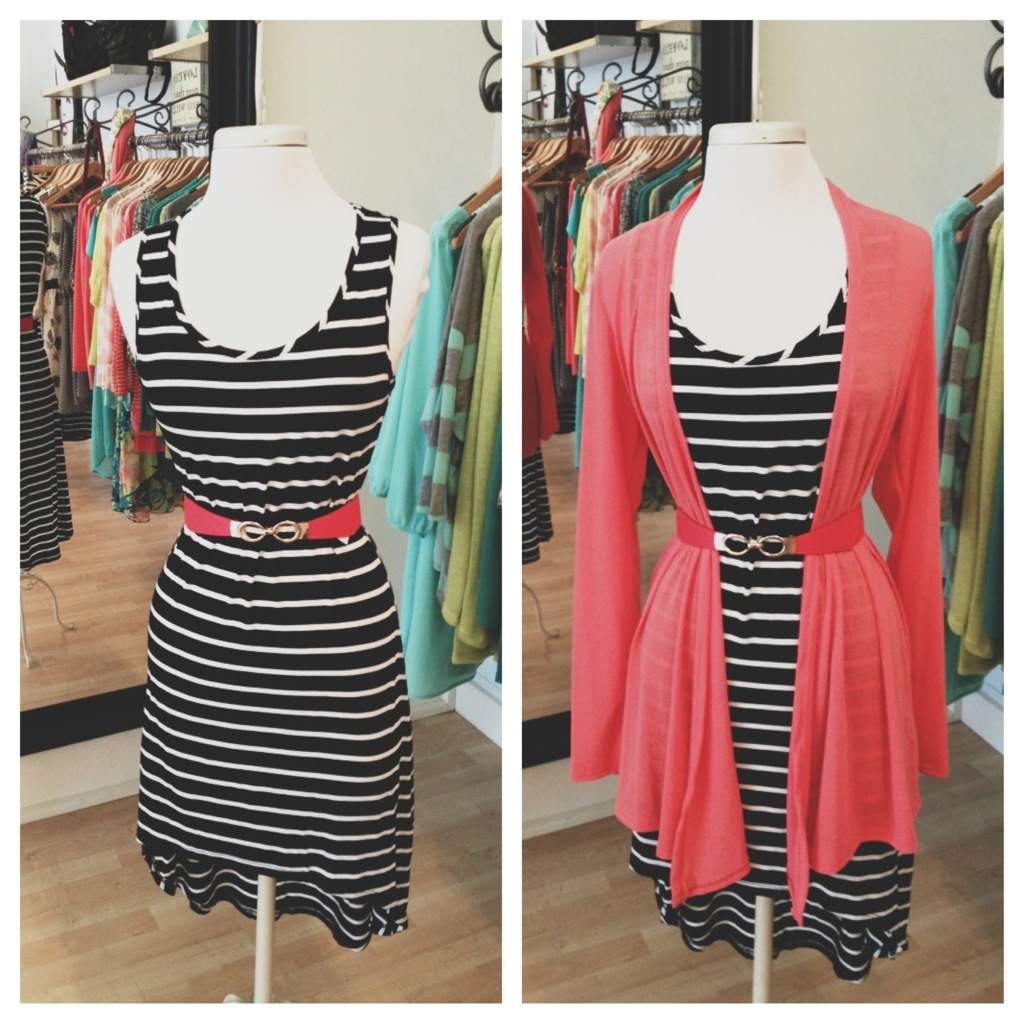 Cotton Striped Dress with Coral Cardigan