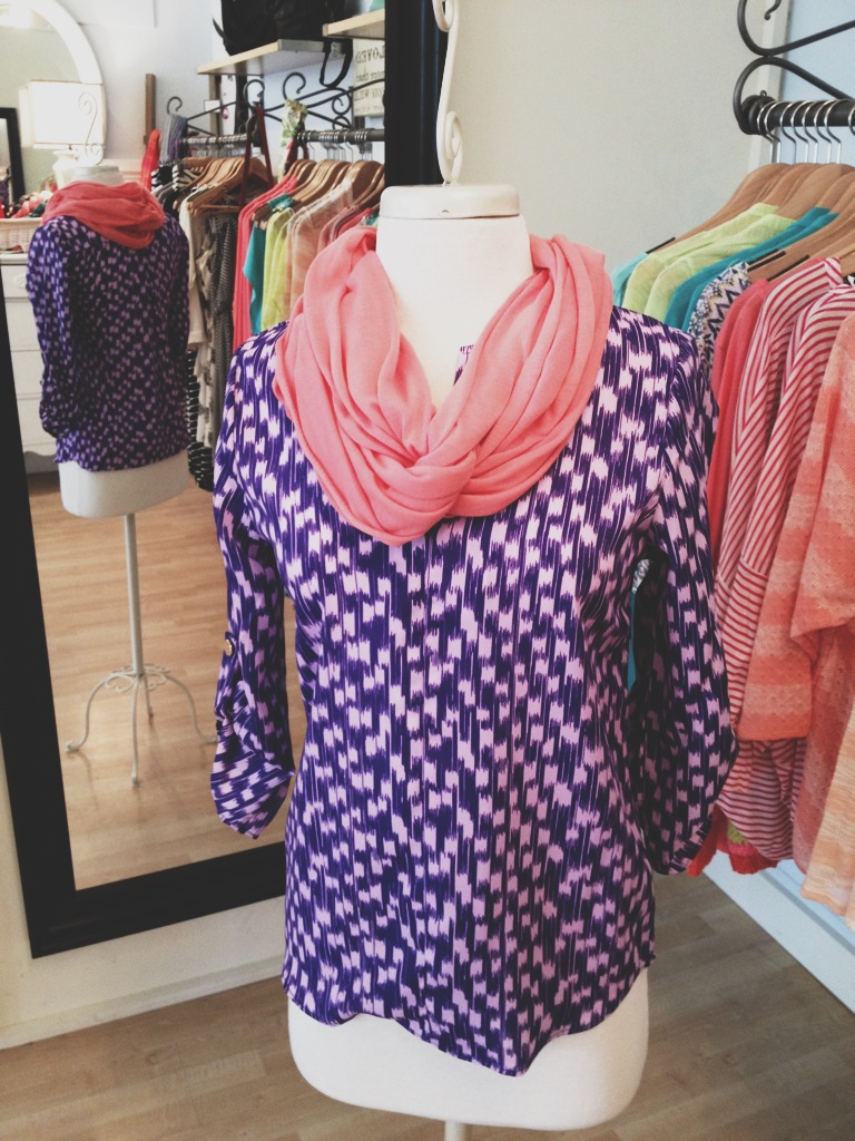 Purple Blouse with Pink Infinity Scarf