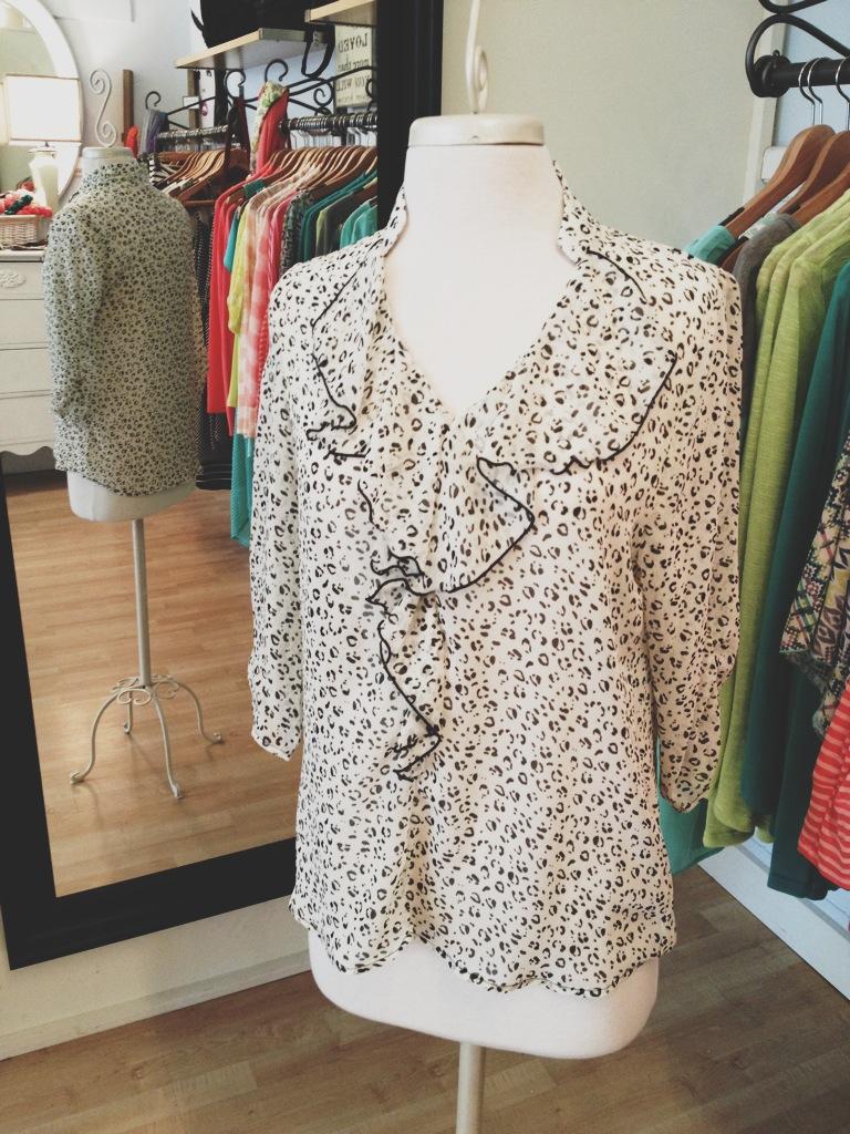 Black & White Leopard Print Blouse