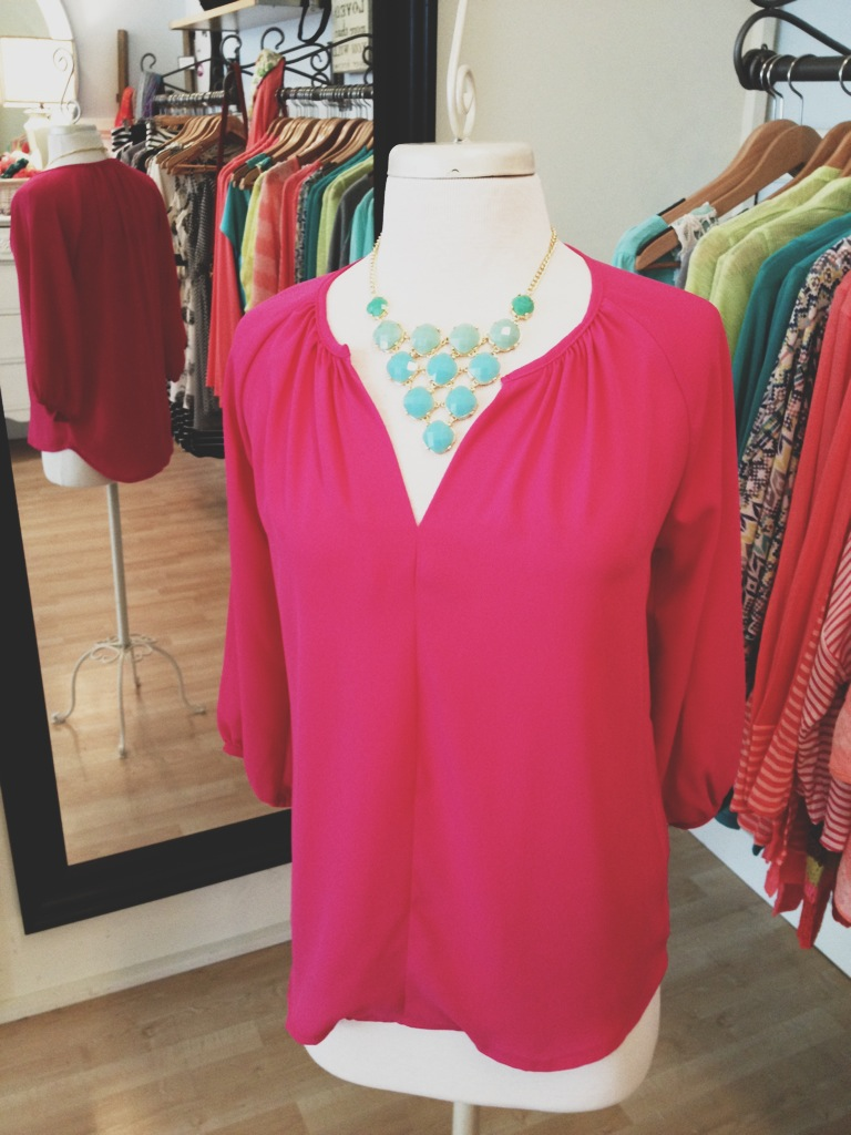 Fuchsia Blouse with Turquoise Statement Necklace