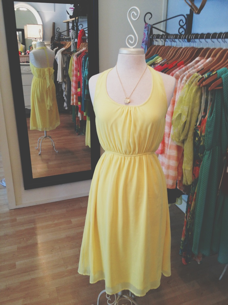 Yellow Sleeveless Dress with Unique Back
