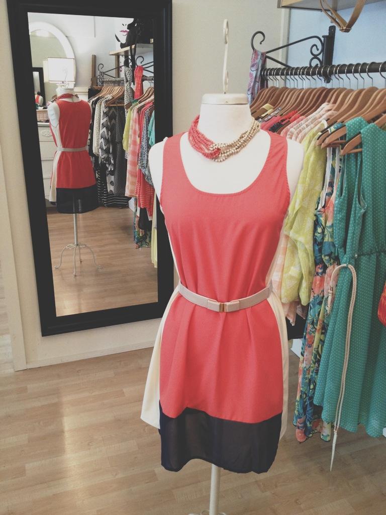 Coral/Camel/Navy Color Block Dress