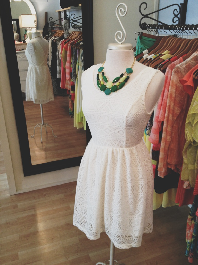 White Lace Dress with V-back