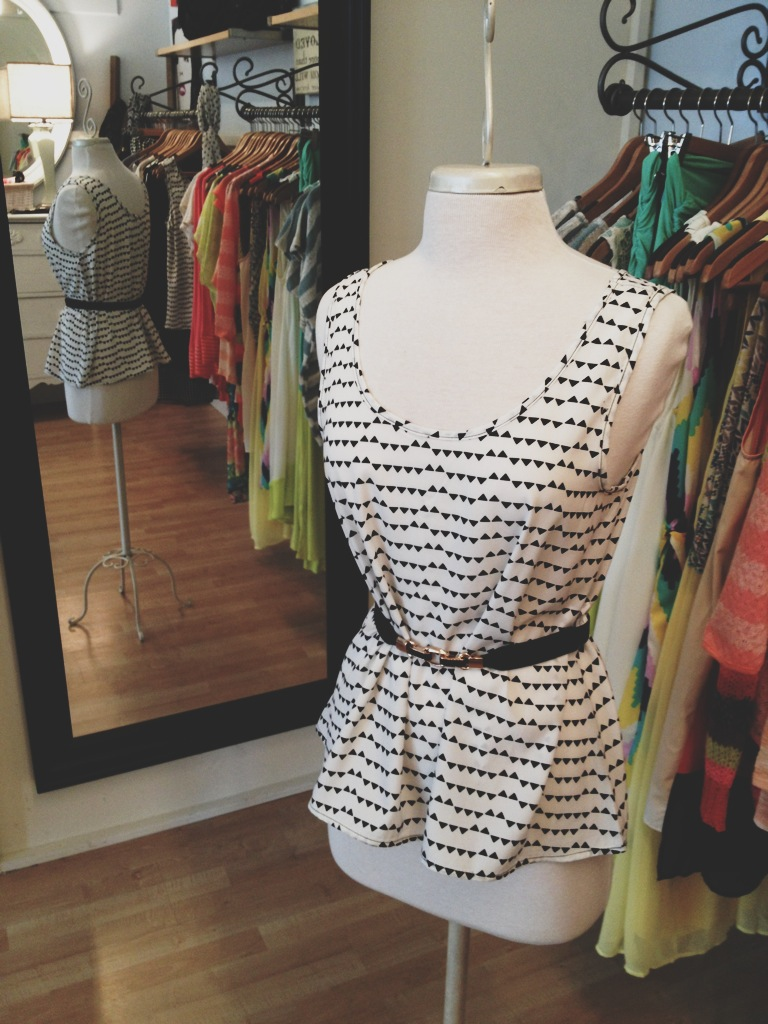 Black and White Tank with Skinny Belt
