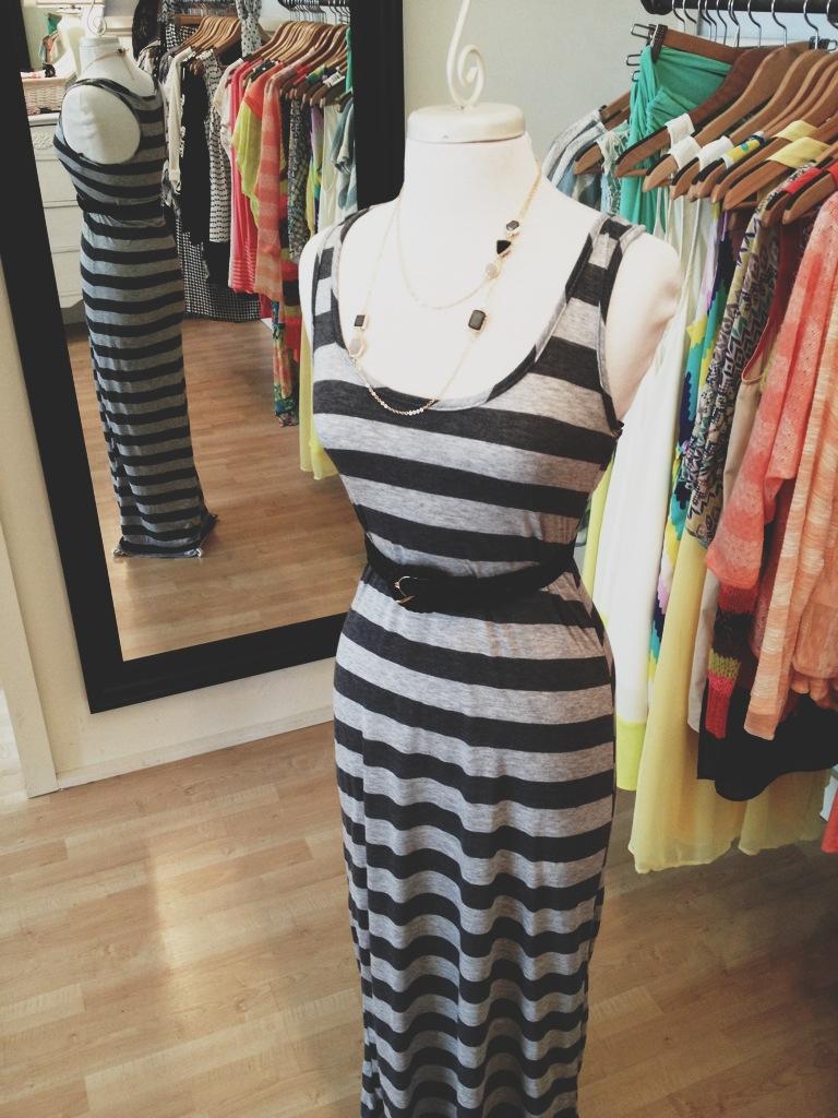 Striped Racer-Back Maxi Dress