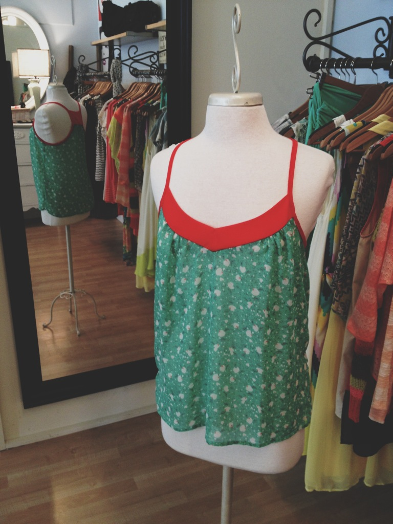 Green and Coral Loose Tank