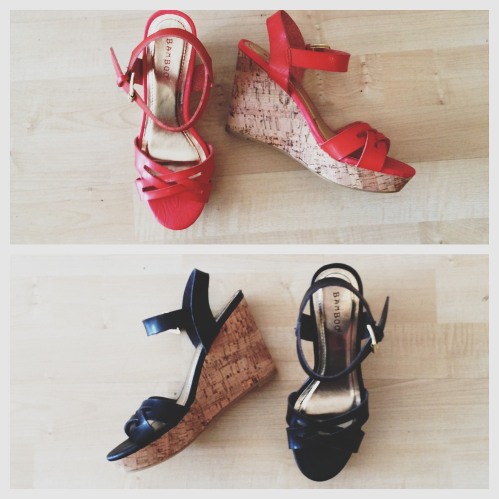 Coral and Black Summer Wedges