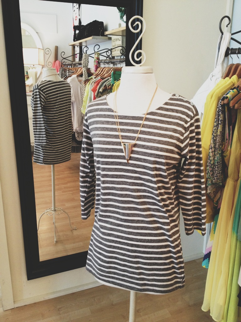 Charcoal Striped Boatneck Top