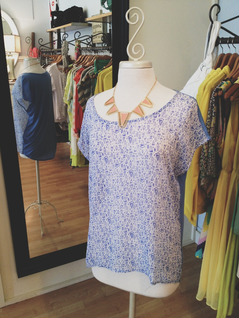 Loose Blue Short Sleeve Top with Coral Statement Necklace