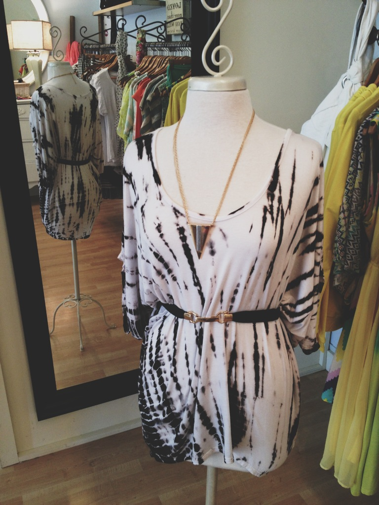 Black and White Tie Dye Top with Black Belt