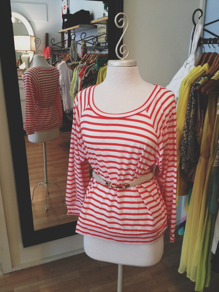 Striped Red Top with Tan Belt