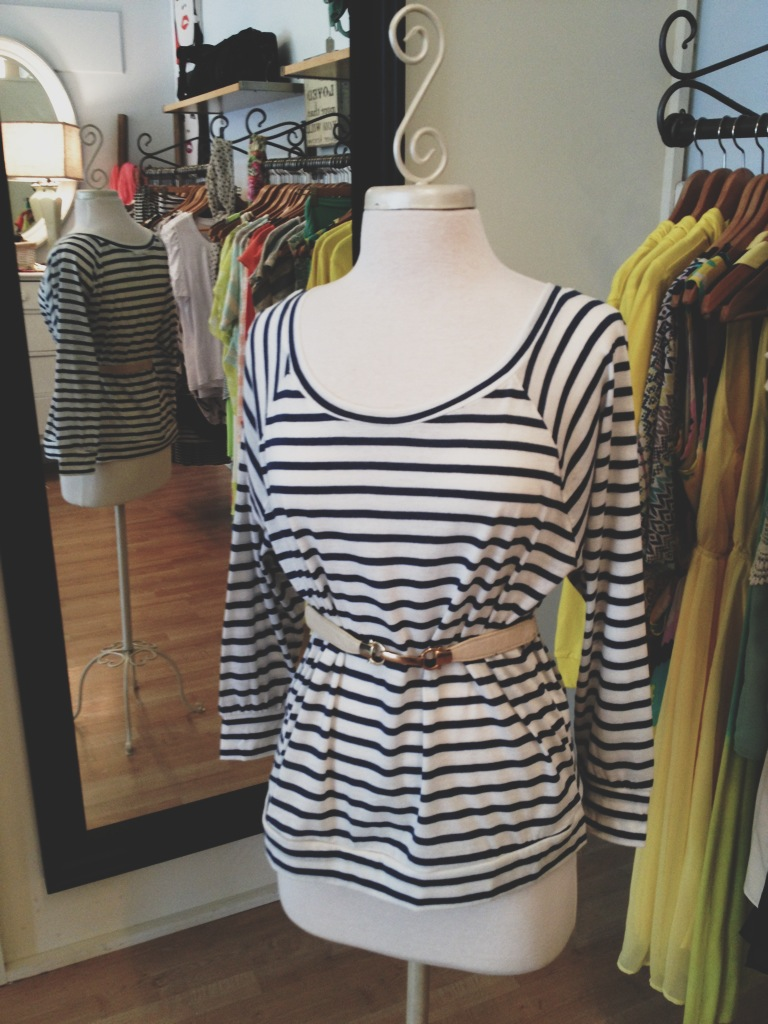Striped Blue Top with Tan Belt
