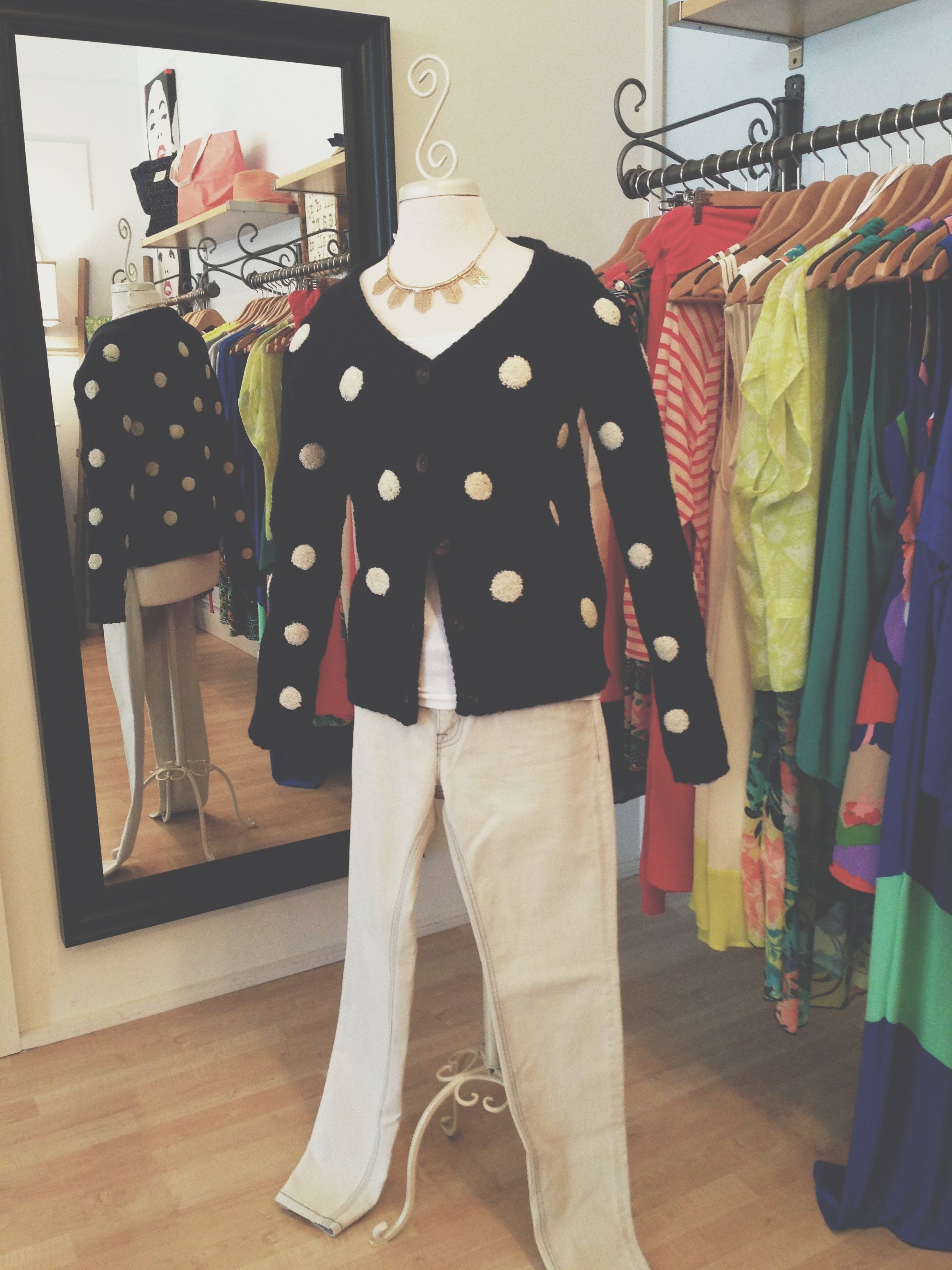 Black and white polka dot sweater, paired with our grey denim.