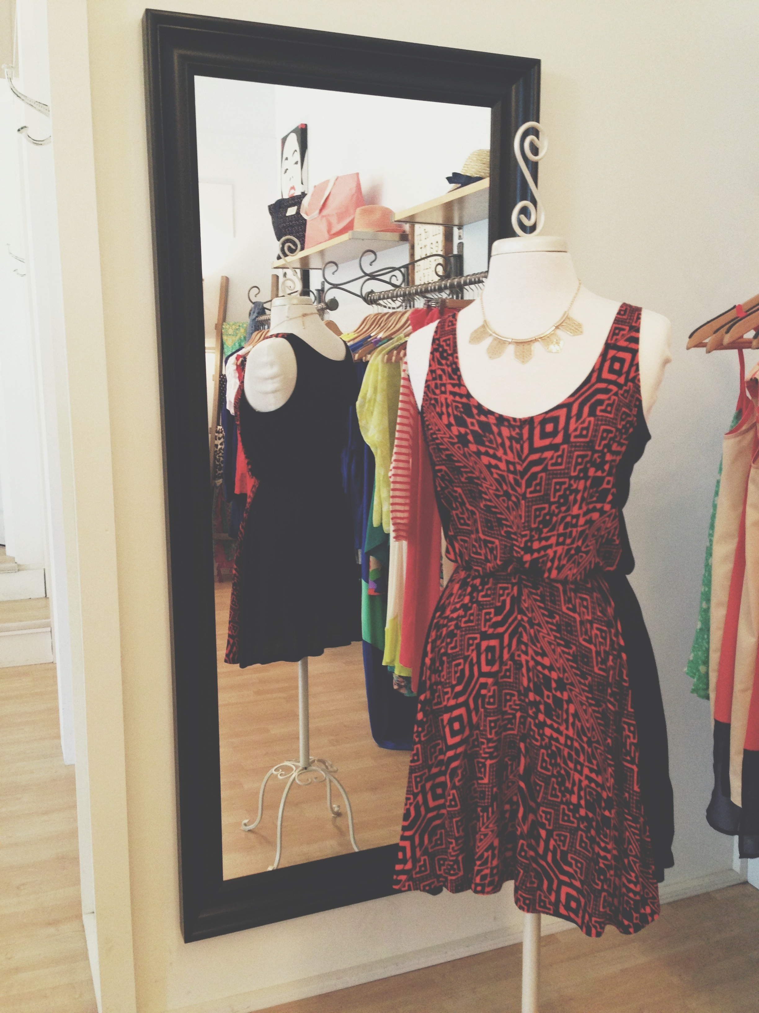Black and red print dress, for that night out on the town perhaps.