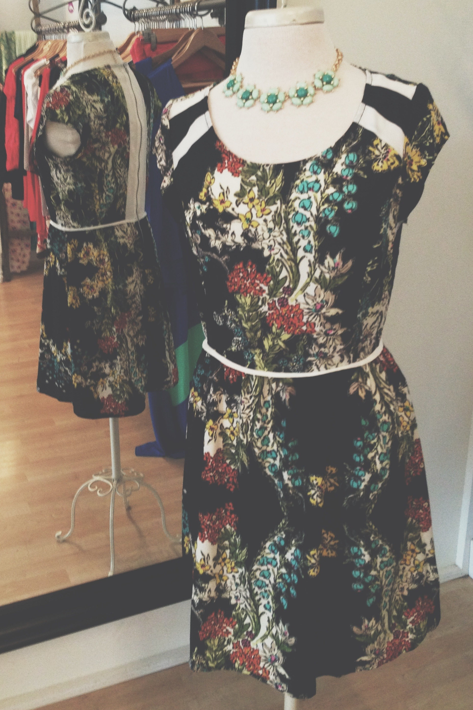 Love Stitch floral print dress, pictured with one of our unique necklaces.