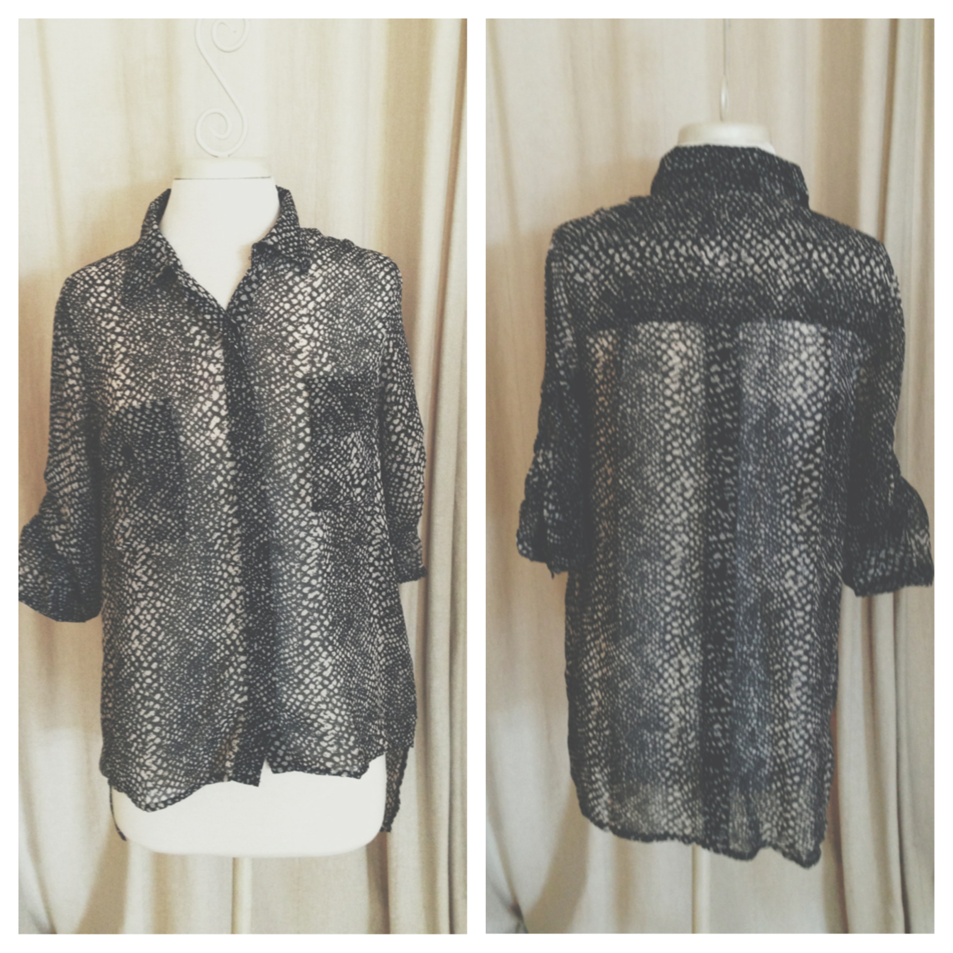 I mean, the back of this snake print blouse says it all. It's long enough to wear with leggings without worry!