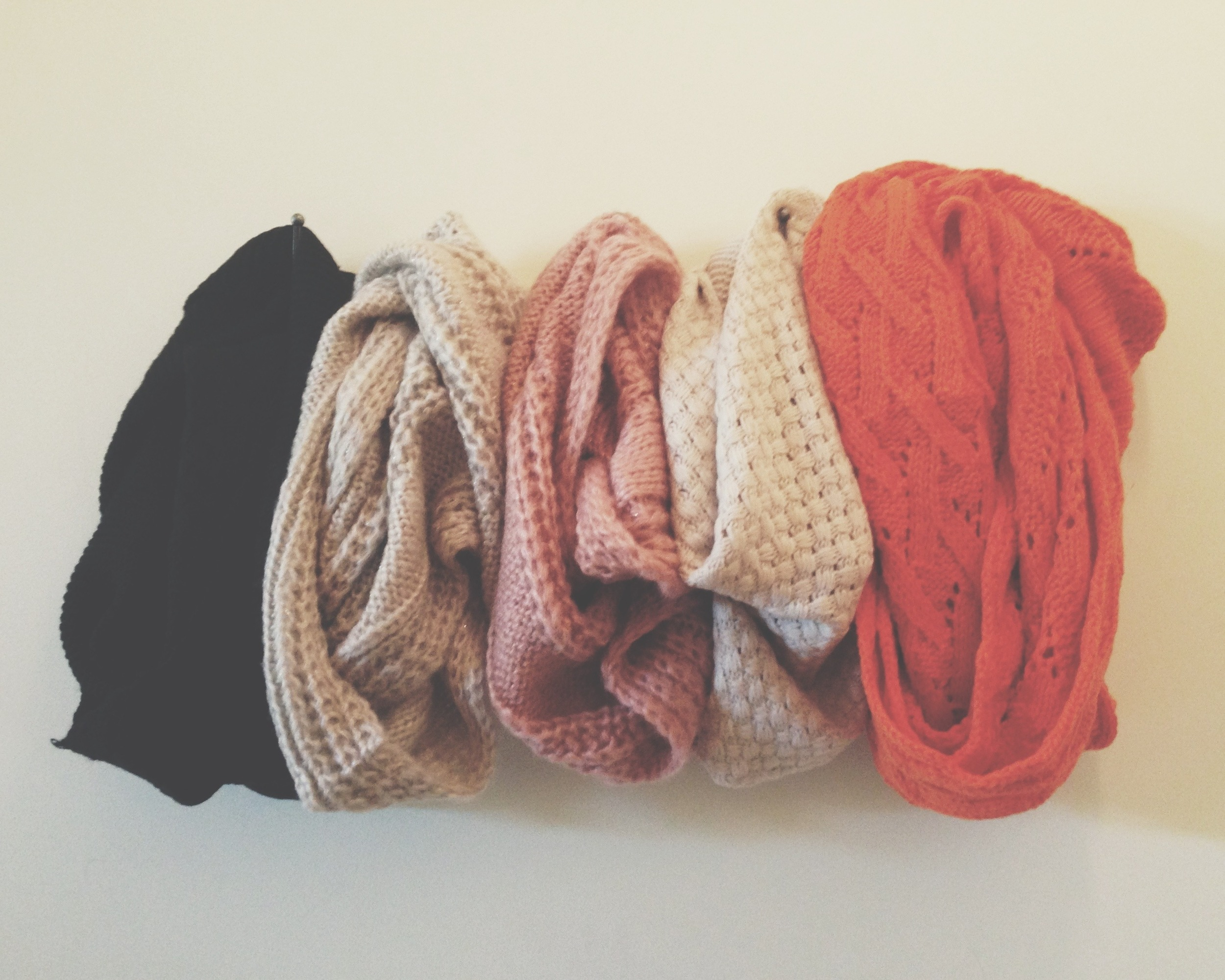 Tan, black, rose, and orange infinity scarves