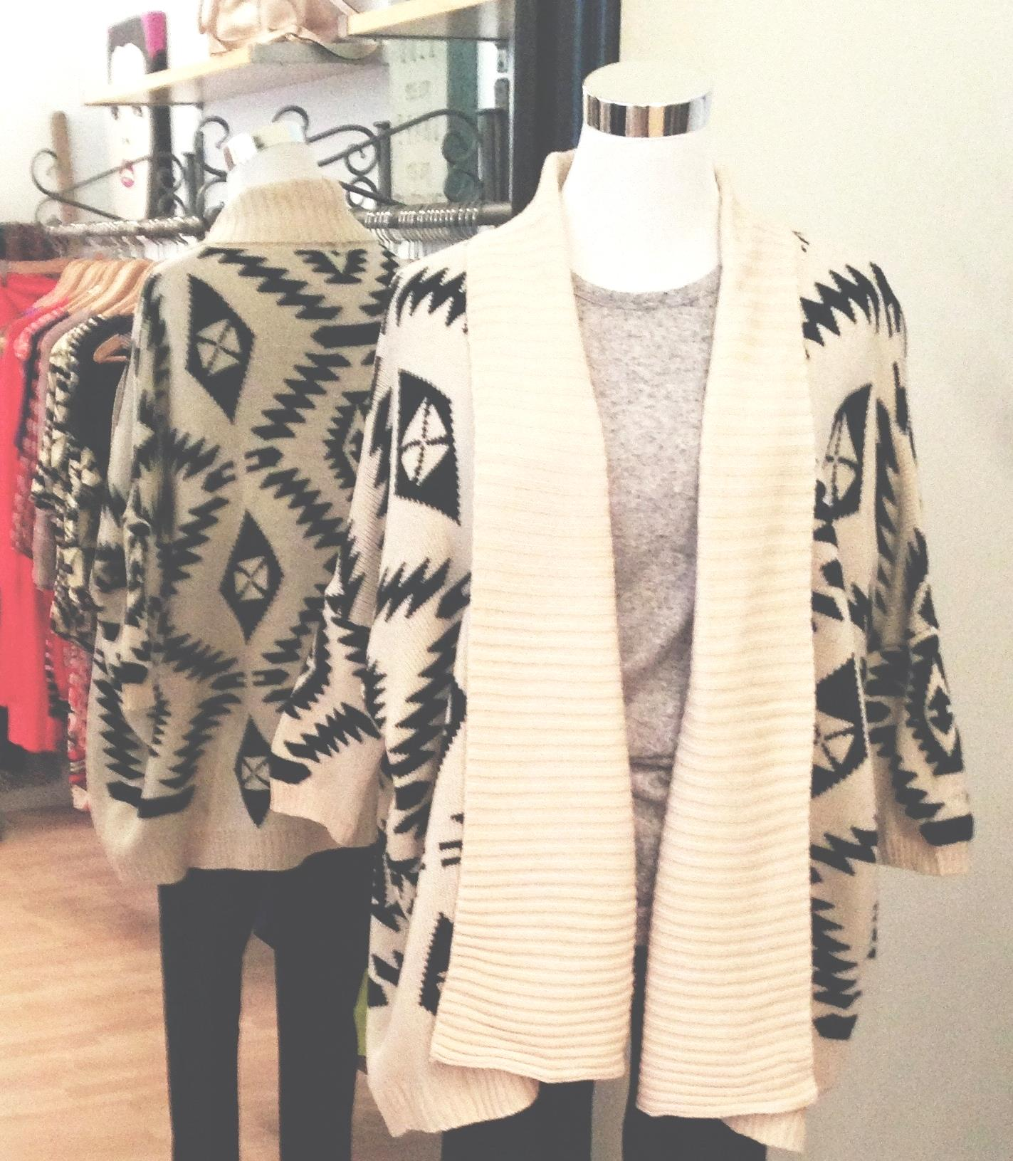 Tan and black tribal print open front sweater